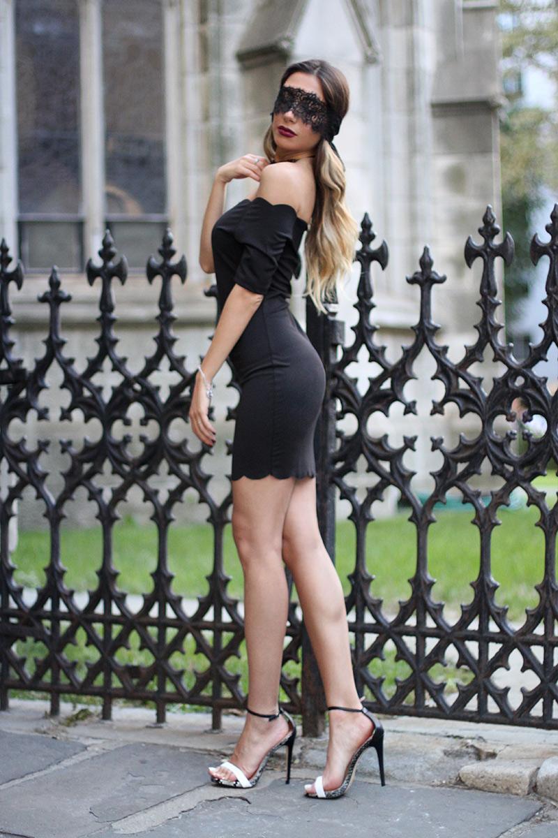 Black Shein dress. Sexy Manhattan Witch for Halloween Special.