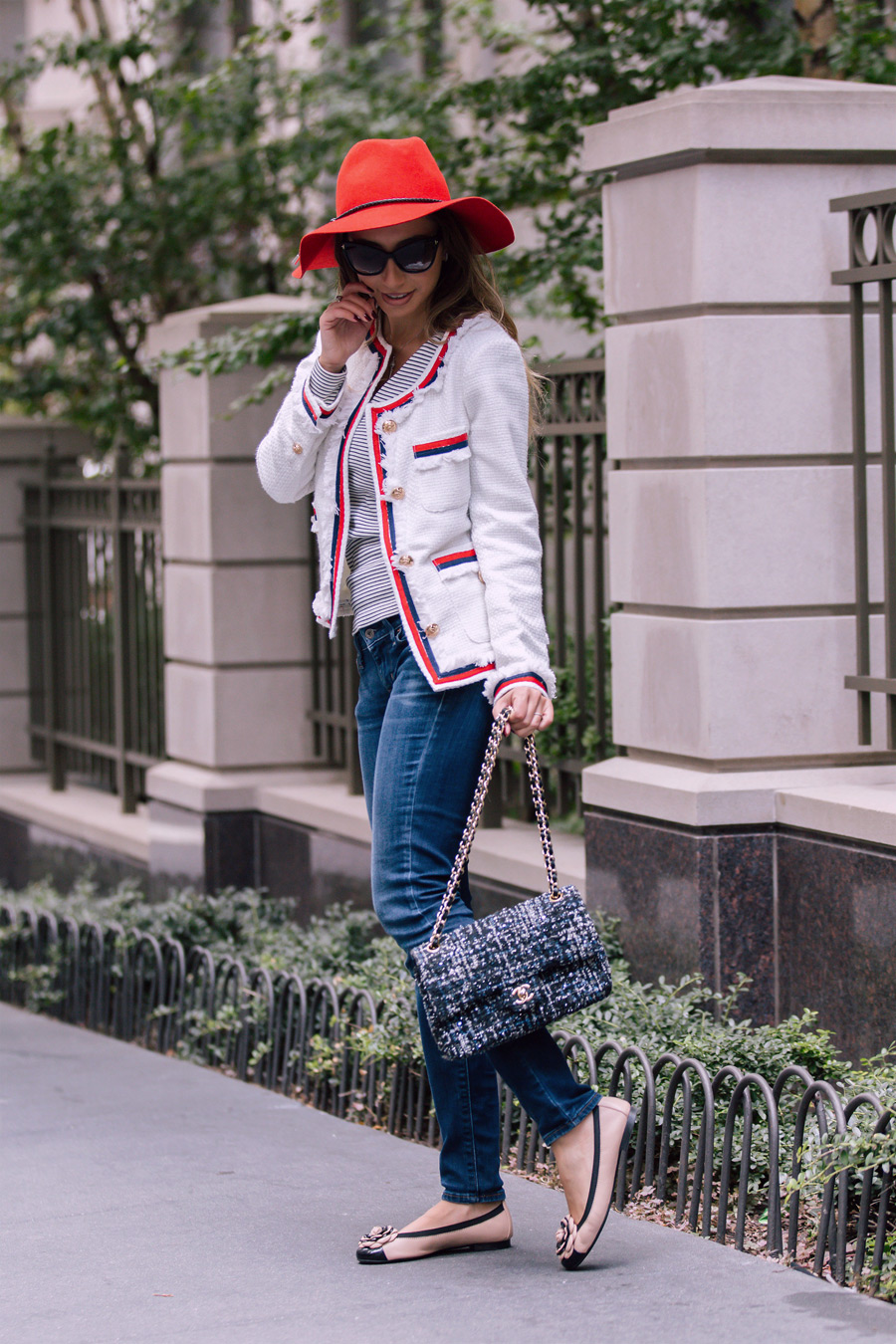 Chanel bag and twee jacket by Make Me Chic. Emilio Pucci red hat for fall 2016. Pretty Ballerinas shoes.