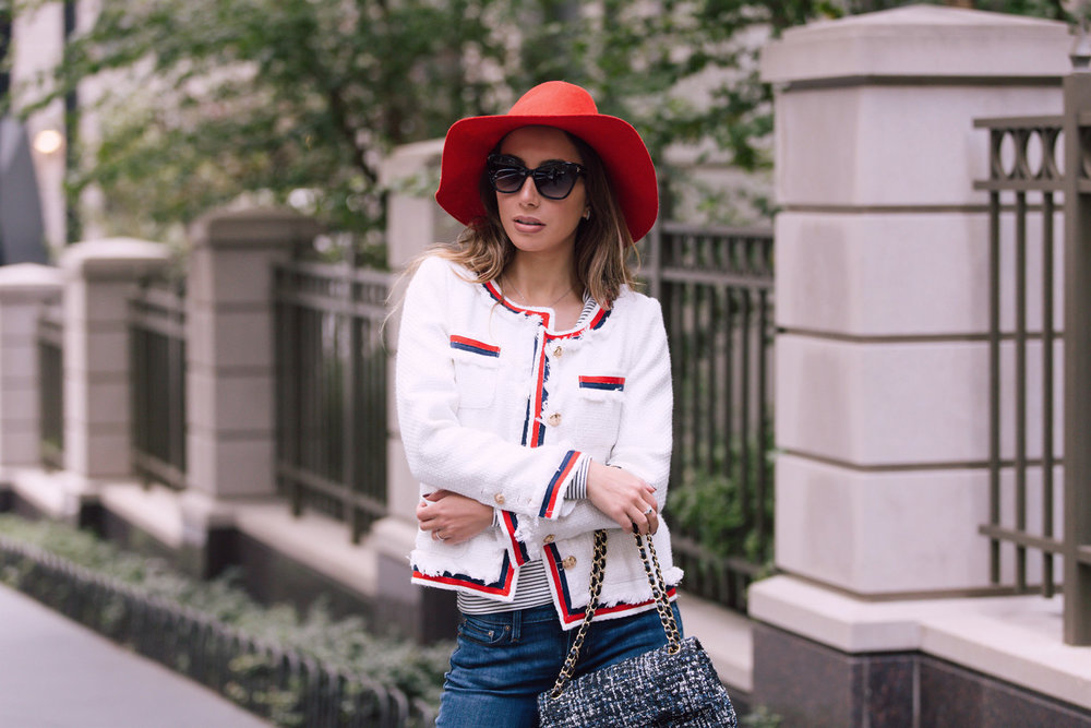 Chanel bag and twee jacket by Make Me Chic. Emilio Pucci red hat for fall 2016.