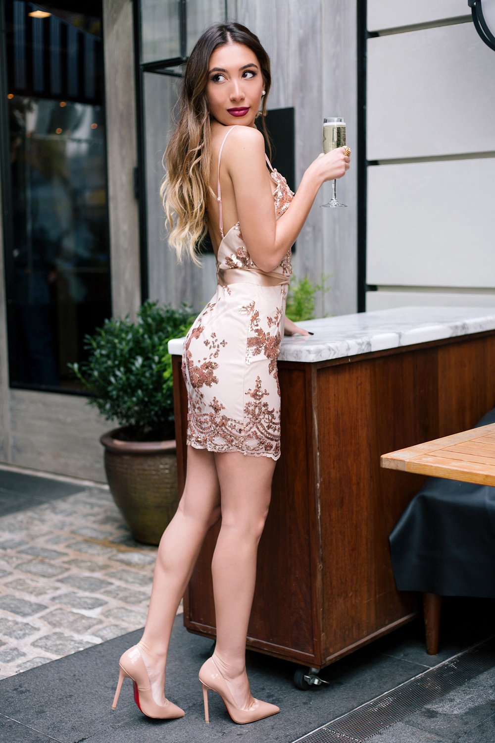 Sexy nude party dress with sequins as seen on Ulia Ali from Pastiche Today blog
