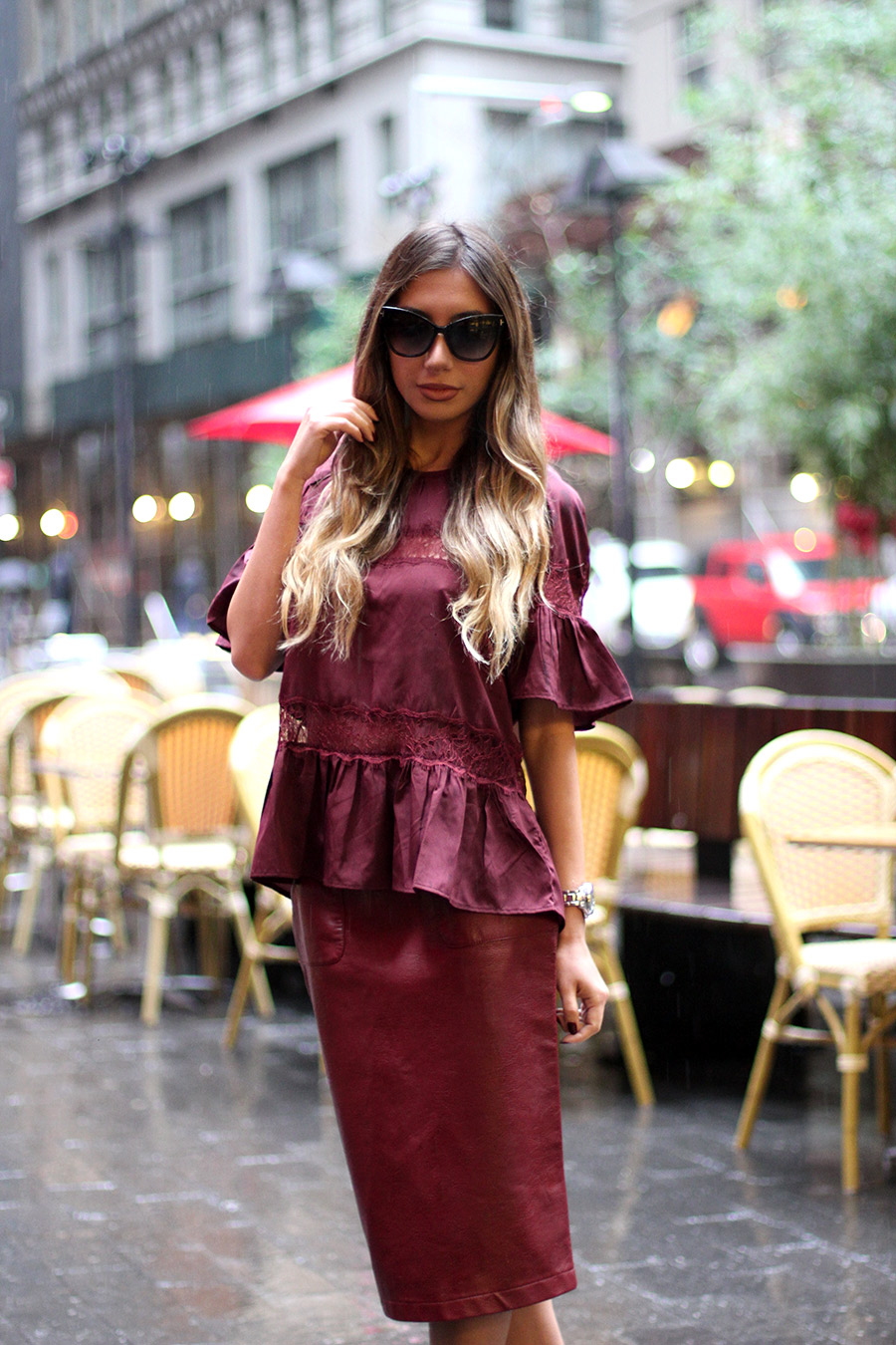 Burgundy look walter Baker and leather Zara skirt.