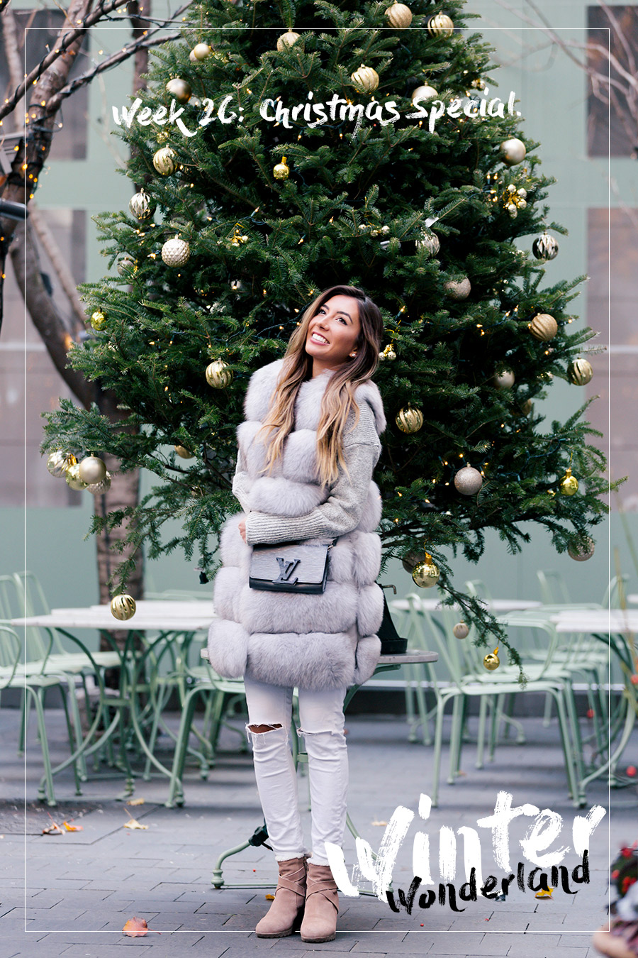 Christmas Tree at Laduree Soho in New York City. Blogger Ulia Ali