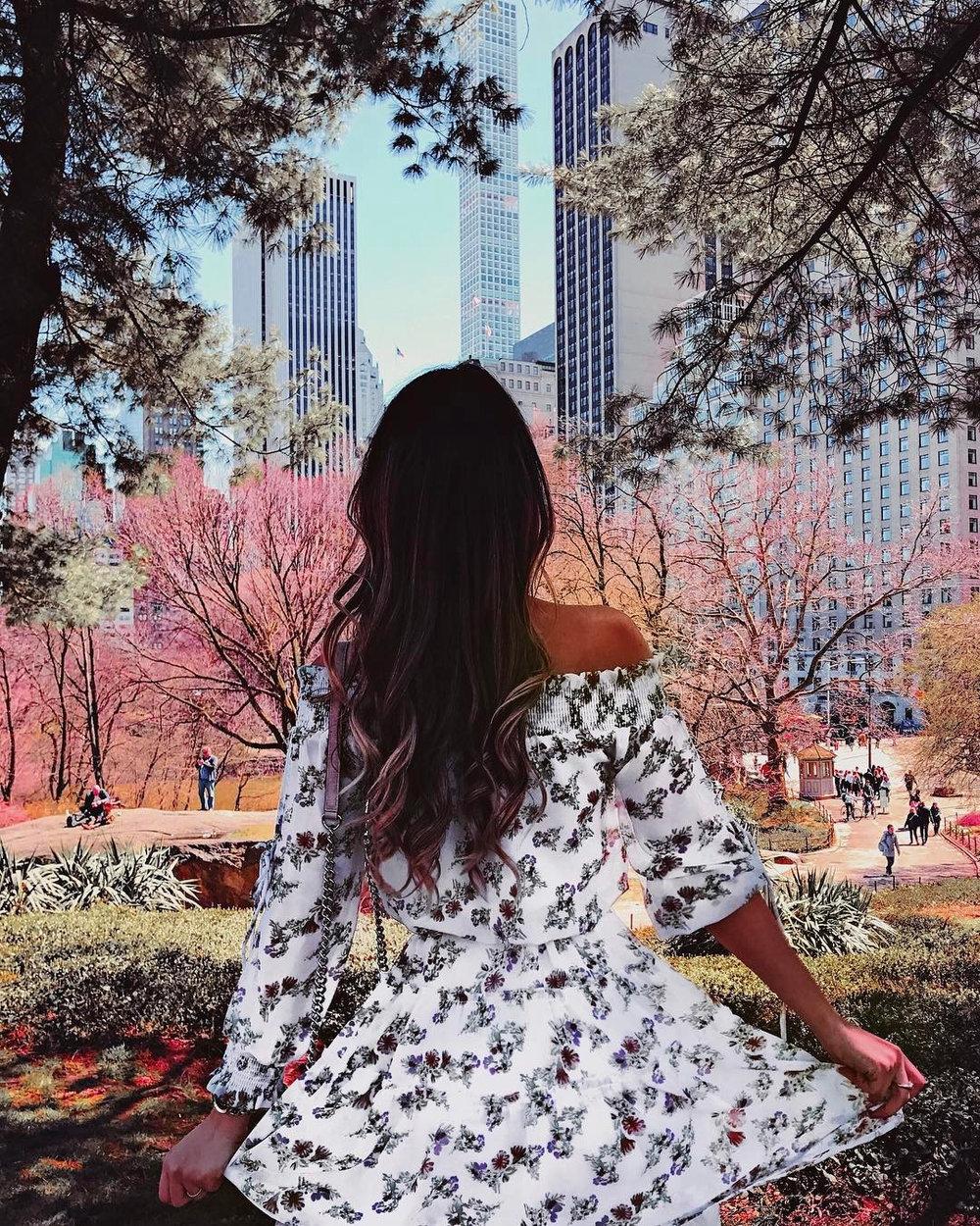Floral dress in Central Park