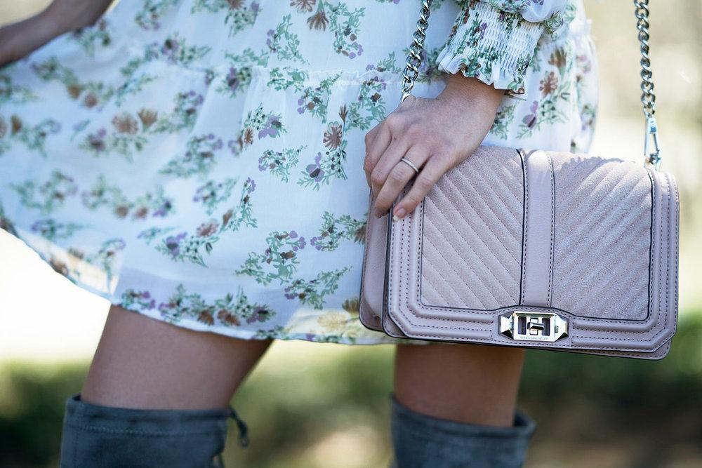 Pink suede Rebecca Minkoff bag