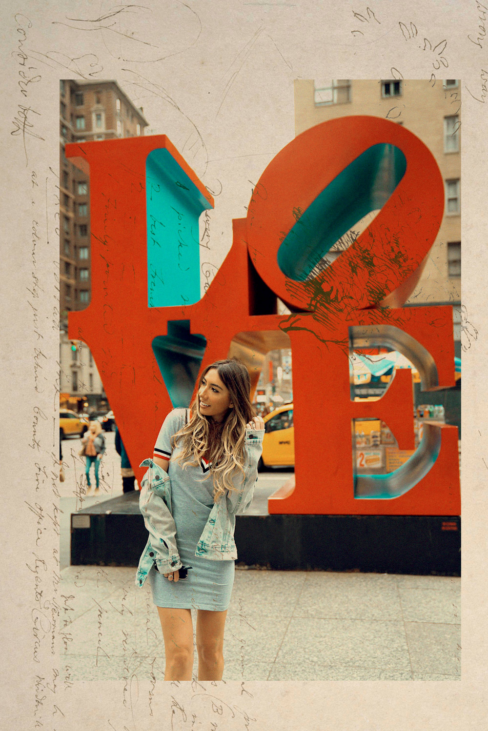 Creative photoshoot. NYC postcard vintage 2017