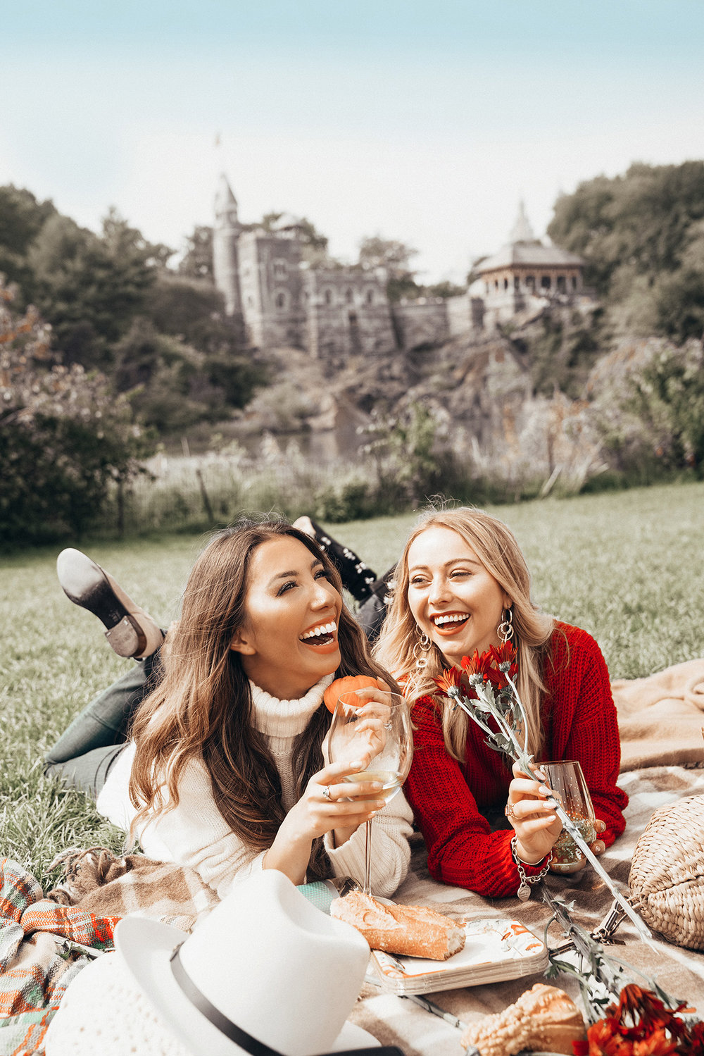 Fun picnic shoot with wine and food. Bloggers just want to have fun!