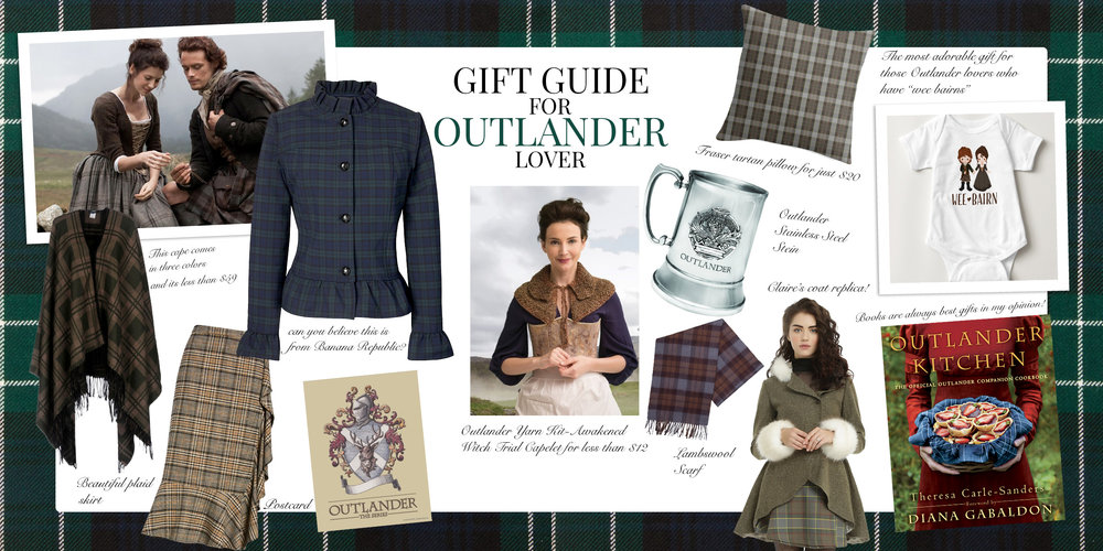 What to get as a gift to Outlander fan? Claire Fraser fashion, Gabaldon books and Jamie Fraser souvenirs.