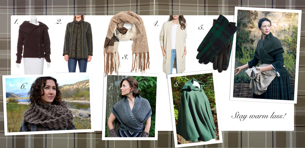 Outlander inspired fashion styles. Warm shawls, capes and cardigans.