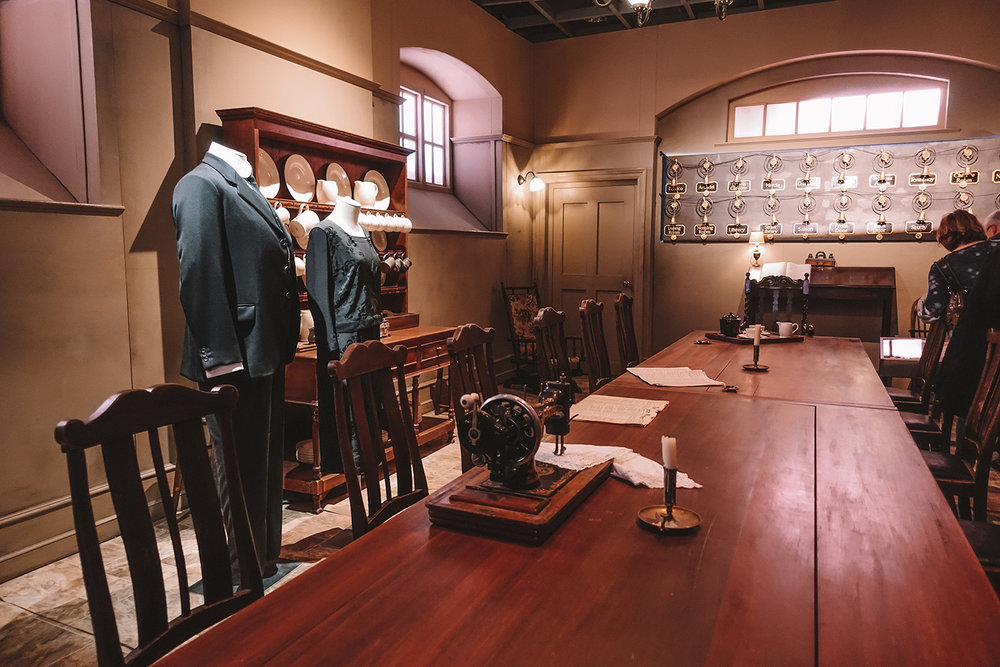 Servants Quarters in Downton Abbey. PBS show exhibition