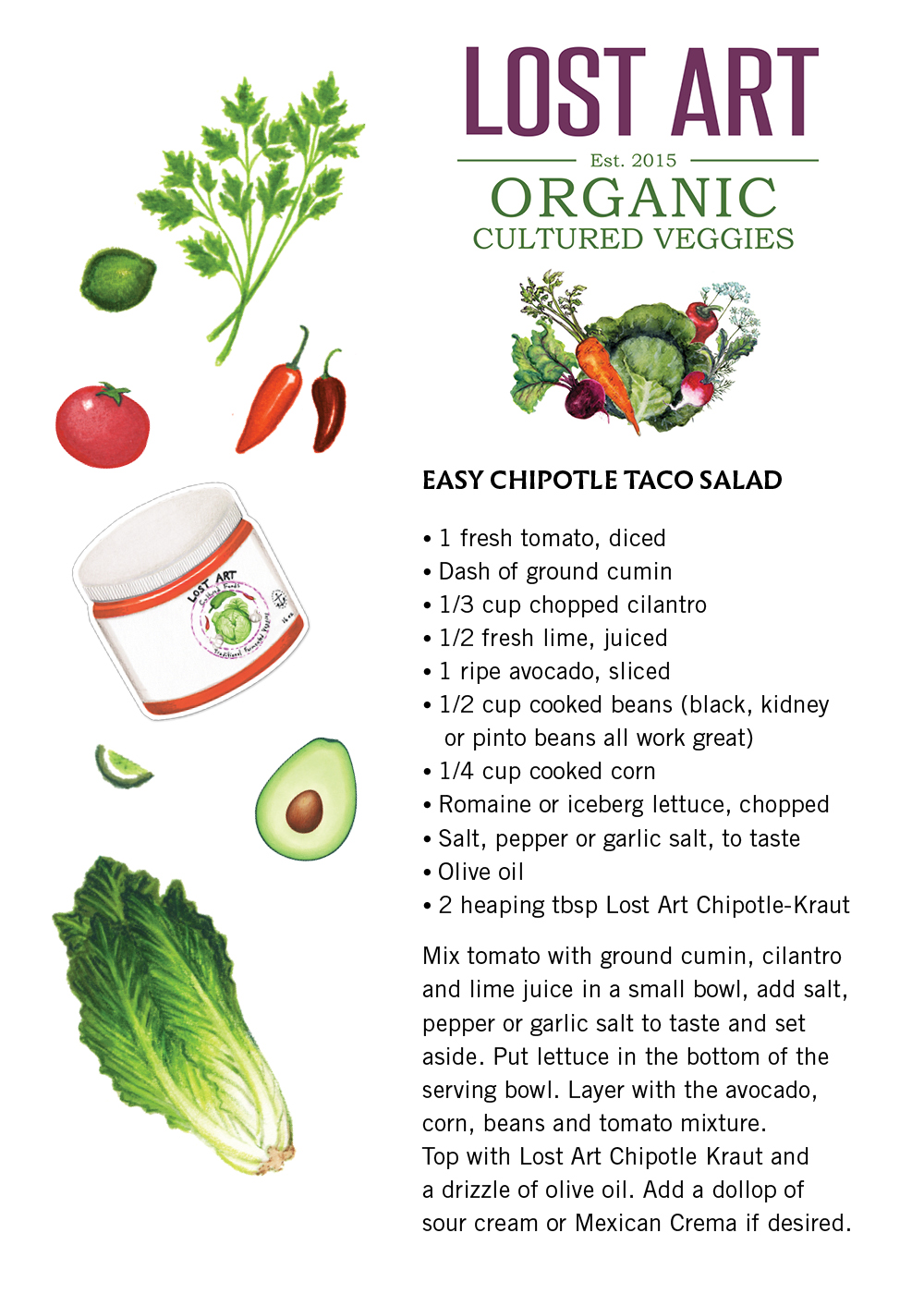 Chipotle Kraut:  Easy Chipotle Taco Salad (click to enlarge & print)