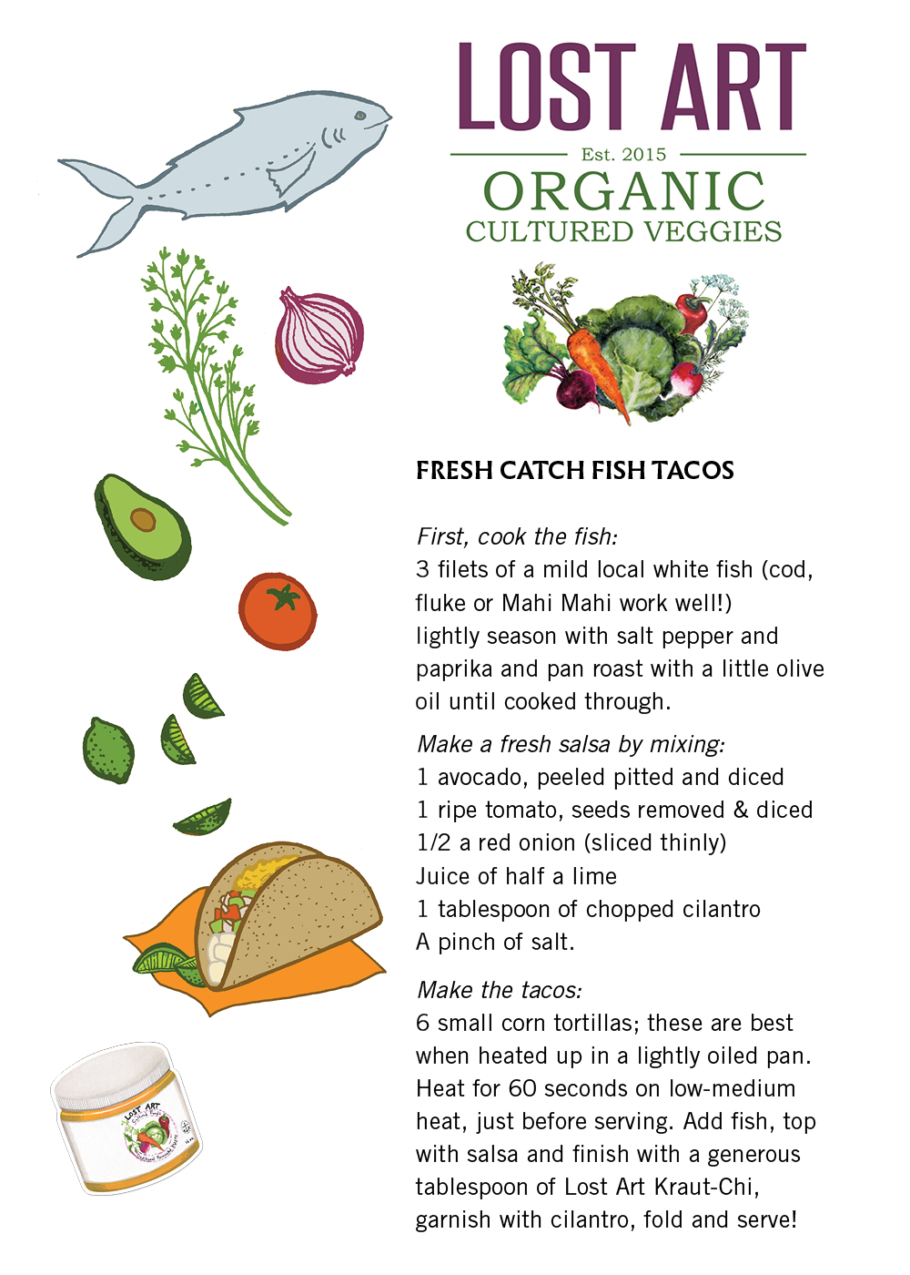 Kraut-Chi:  Fresh Catch Fish Tacos (click to enlarge & print)