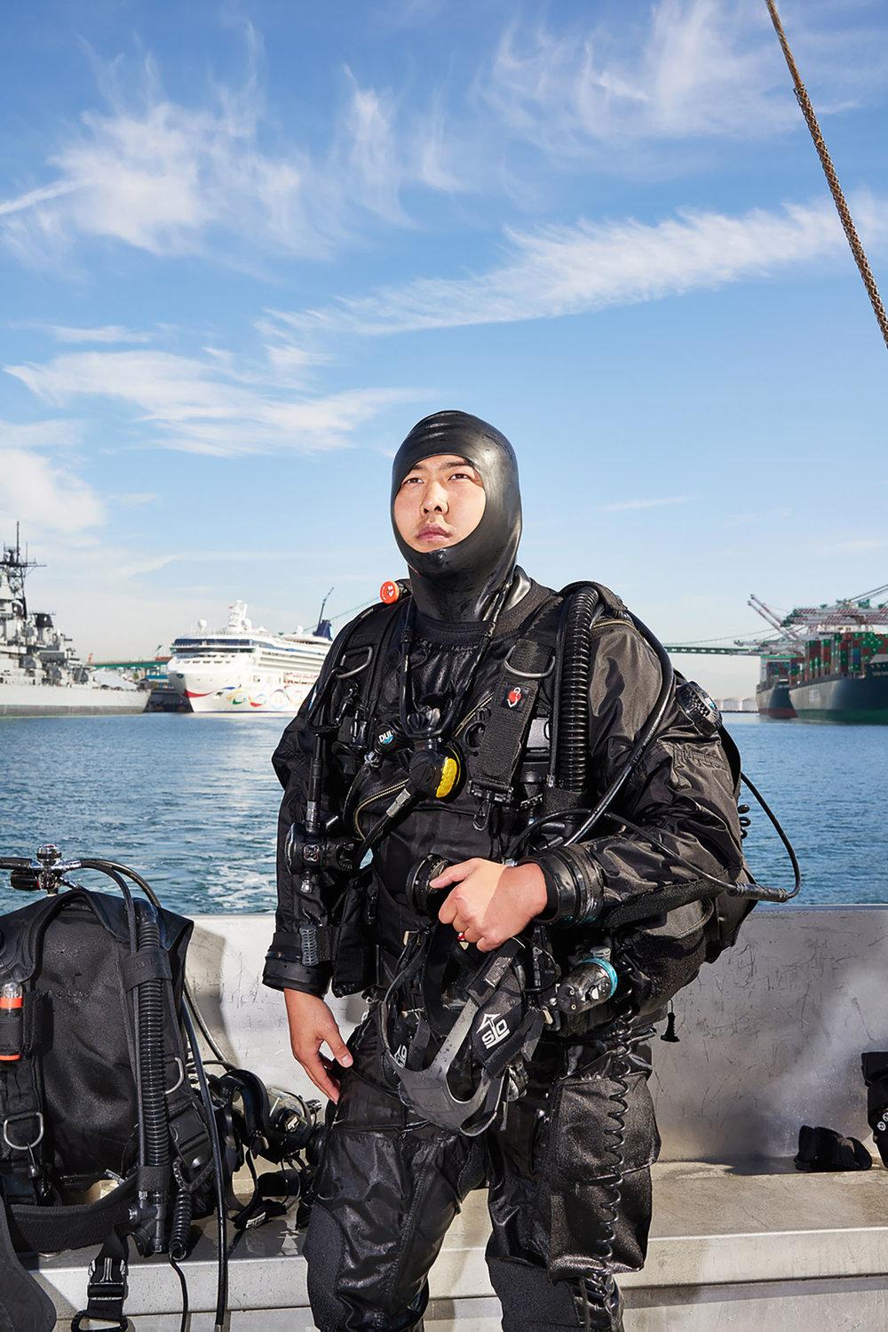 Frank Huan, Los Angeles Port Police Diver, San Pedro, California, 2015