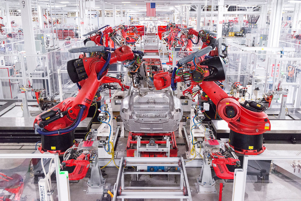 Tesla factory assembly line in Fremont, CA