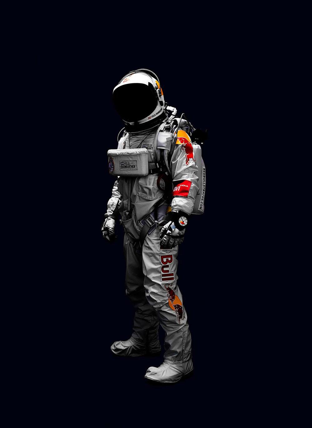 Skydiver Felix Baumgartner in his Red Bull Stratos Space Diving Suit