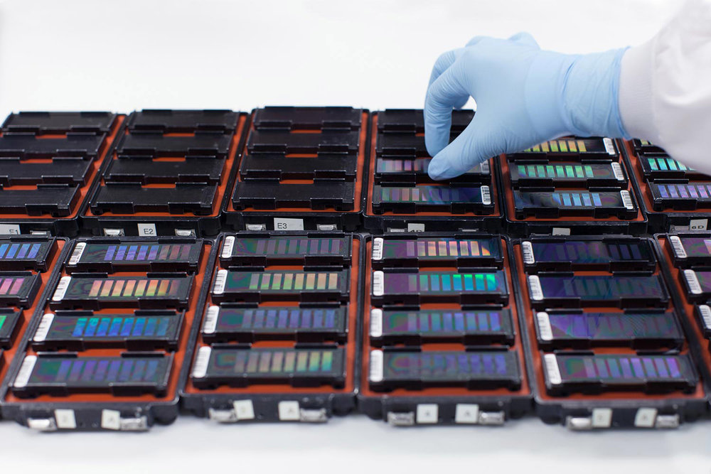 23andMe's custom Array Chips mounted for analysis