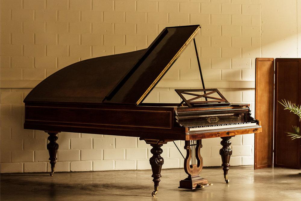 Kruissnarige Pleyel n°86649 concertvleugel gebouwd in 1885 te Parijs