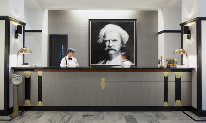 Mark Twain Hotel reception desk in San Francisco, CA - Anthony Laurino Design