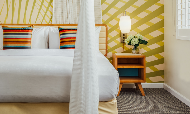 Tropical Hotel Room in Sunnyvale, CA -Anthony Laurino Design