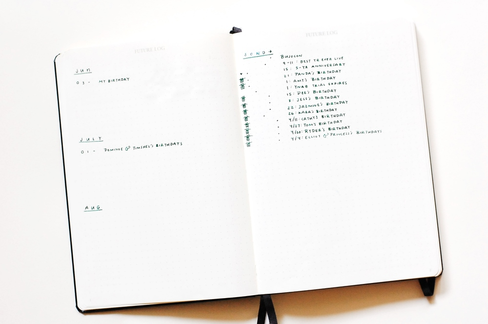 Future Log - Bullet Journal