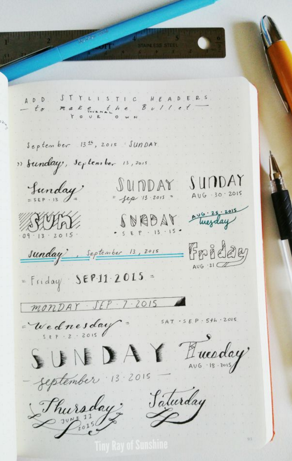 add sytlistic headers to your bullet journal