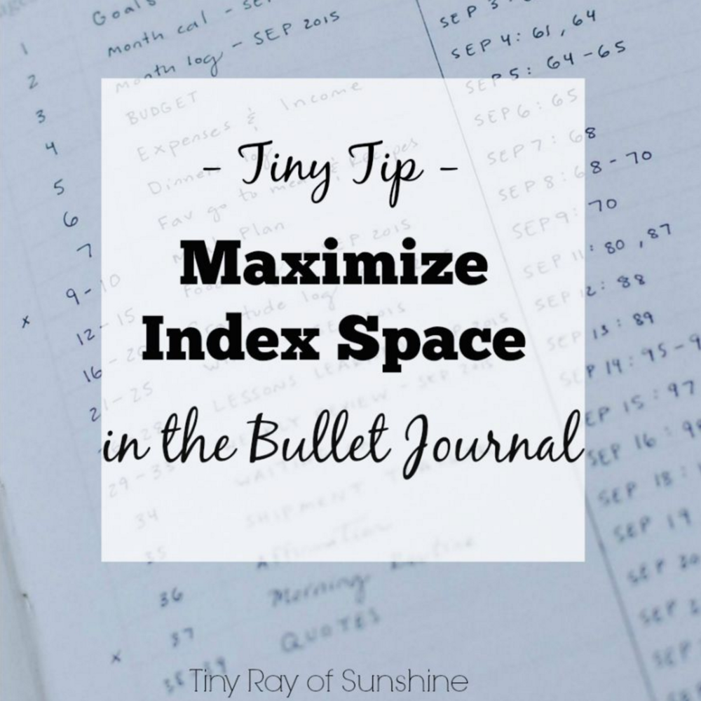 maximize index space in the bullet journal