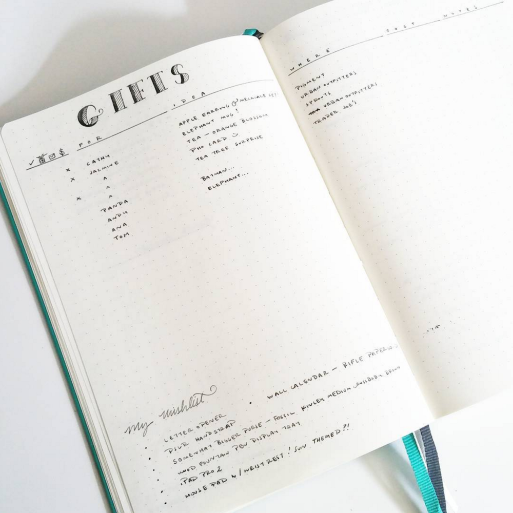 Write down gifts for family, friends, and loved ones in your Bullet Journal