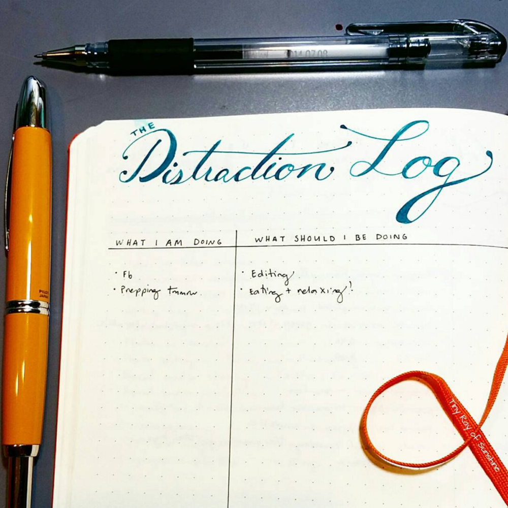 Having a Distraction Log can help you refocus by taking a moment to reflect and write down what you're doing and what you should be doing as an accountability measure.
