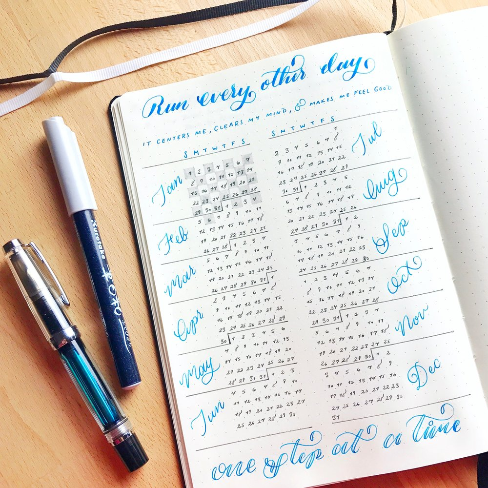 The year-long Running Log I created with my goal for the year at the top along with my 'why' statement across the top and an encouraging message at the bottom for those harder days.