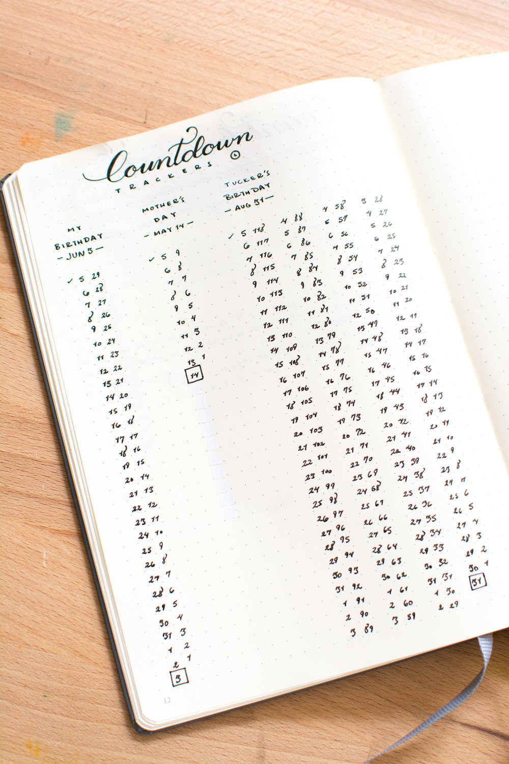 Keep track of important events in your life with a Countdown Tracker in your Bullet Journal