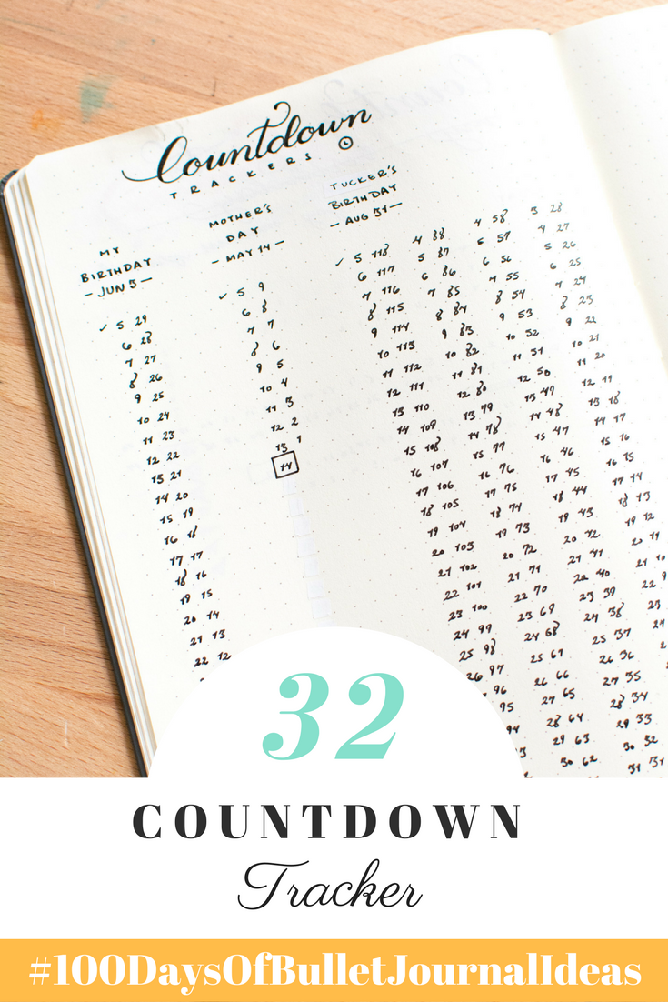 Keep track of important events with a Countdown Tracker in your Bullet Journal