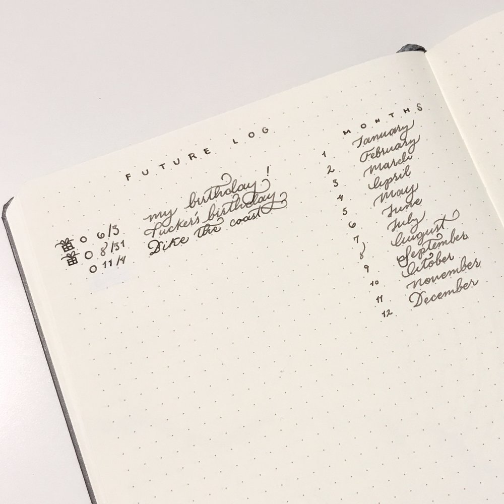 A Simple List Future Log helps you quickly write down future events with a simple bullet and signifier method