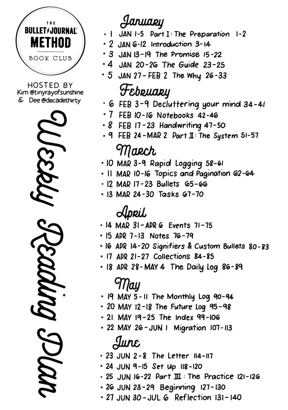 Weekly Reading Plan - Big 1 - Bigger letters make it easier to read and follow along! Planned by Kim and designed by Dee