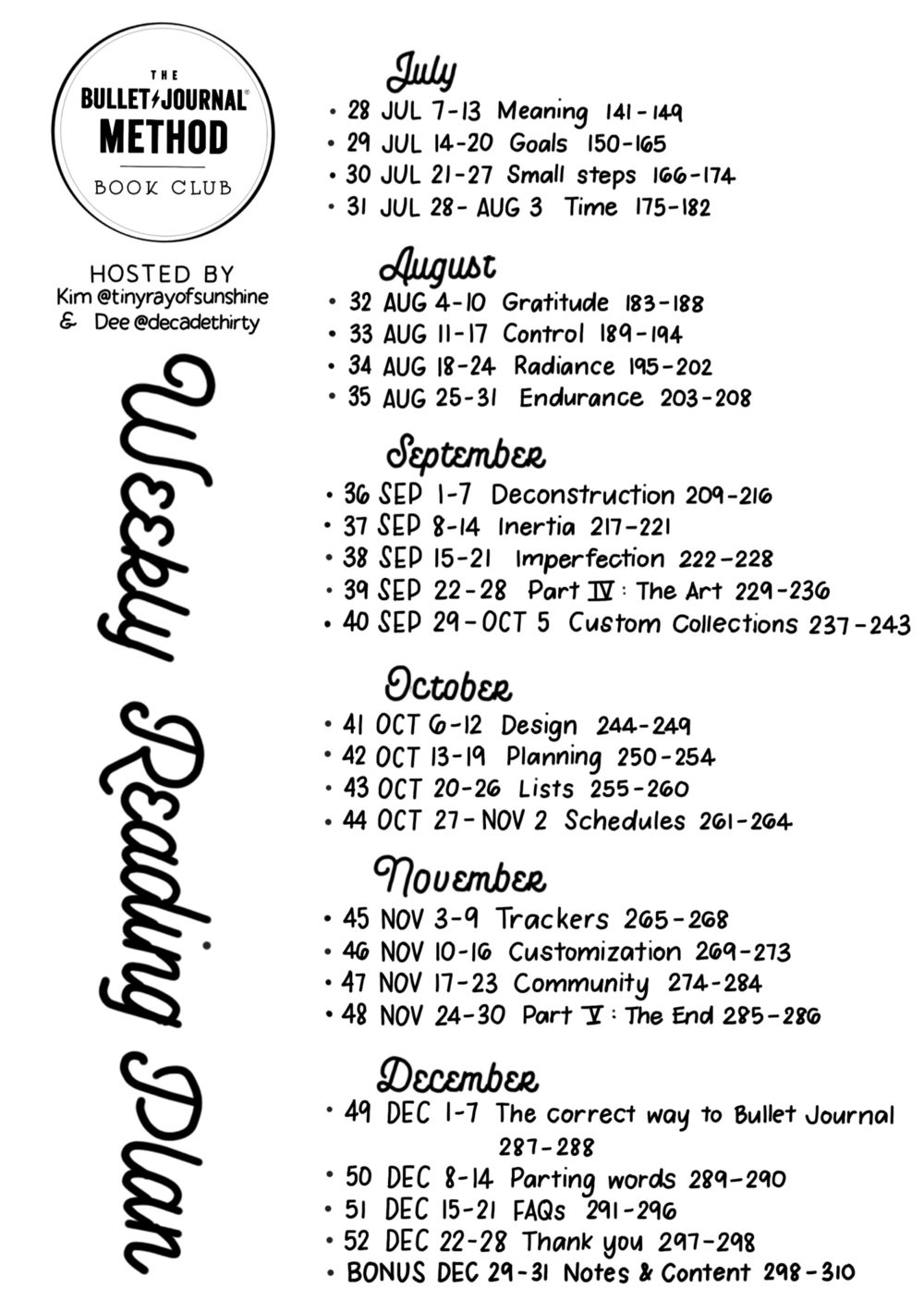 Weekly Reading Plan - Big 2 - Bigger letters for your eyes to enjoy! Planned by Kim and designed by Dee