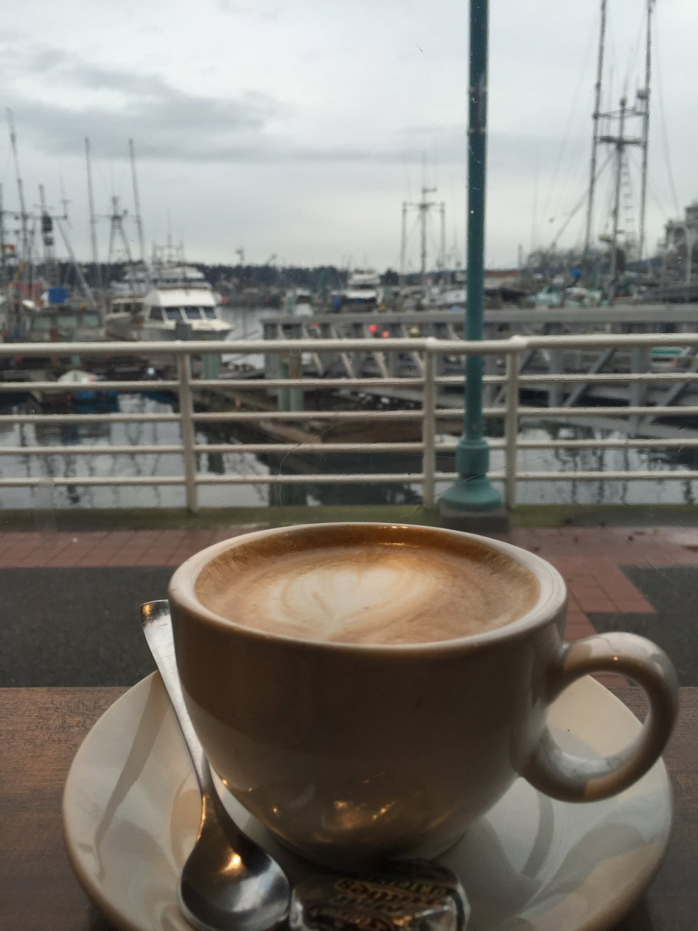 My last latte with a harbour view before heading off to the mainland. (March 24, 2016)