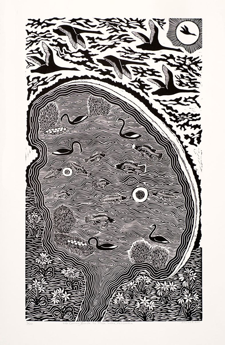 'Life coming back to Moon Lake, Wilcannia' - Linoprint