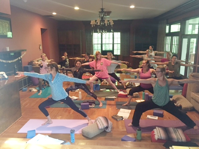 Yoga training at Buddha House, media room.