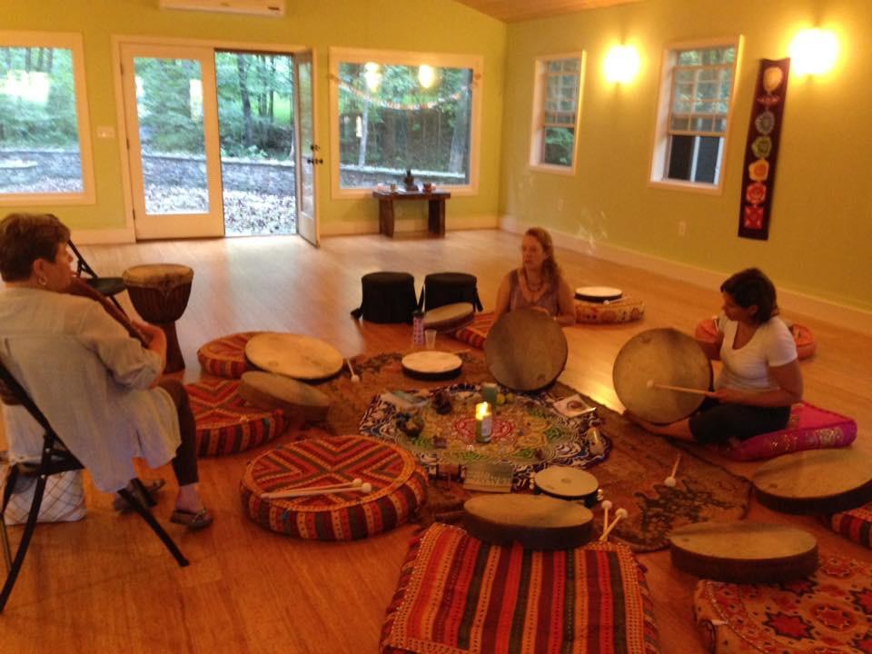 Yoga studio drum circle.JPG