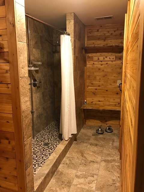 Shower for two just outside sauna