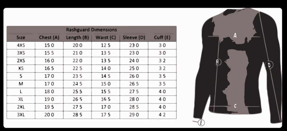 Size chart for custom rashguards
