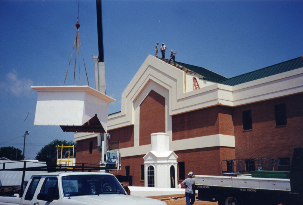 Erecting the steeple