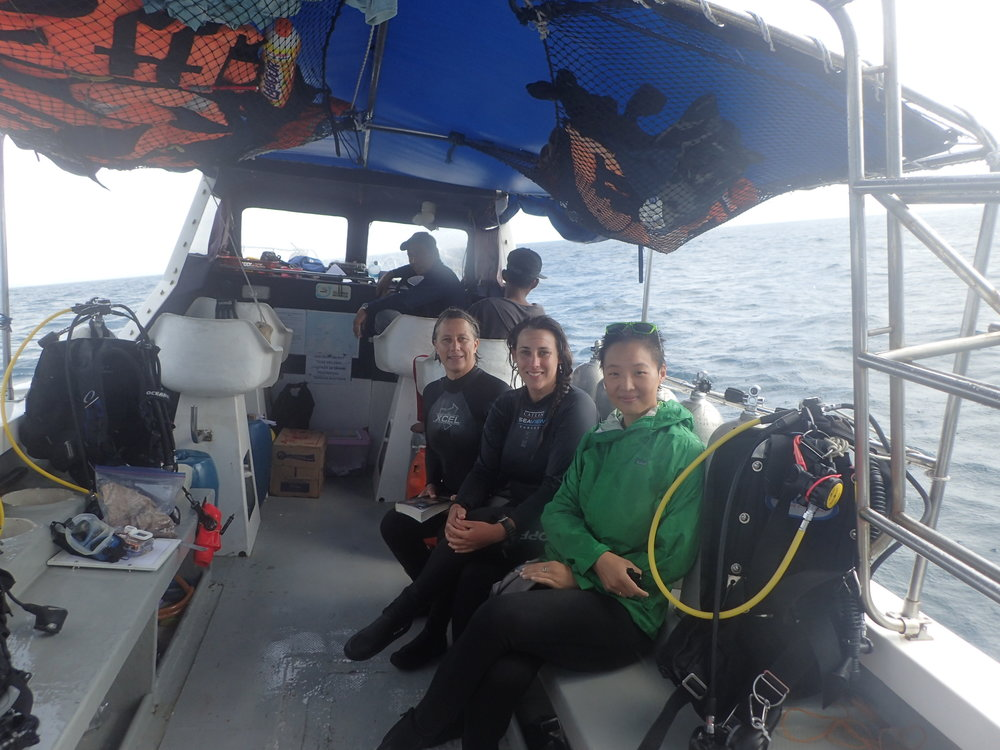 L to R: Our great crew - Captain Damsek + Wan - and Dr. Maria Beger, Jennifer McGowan, and myself.