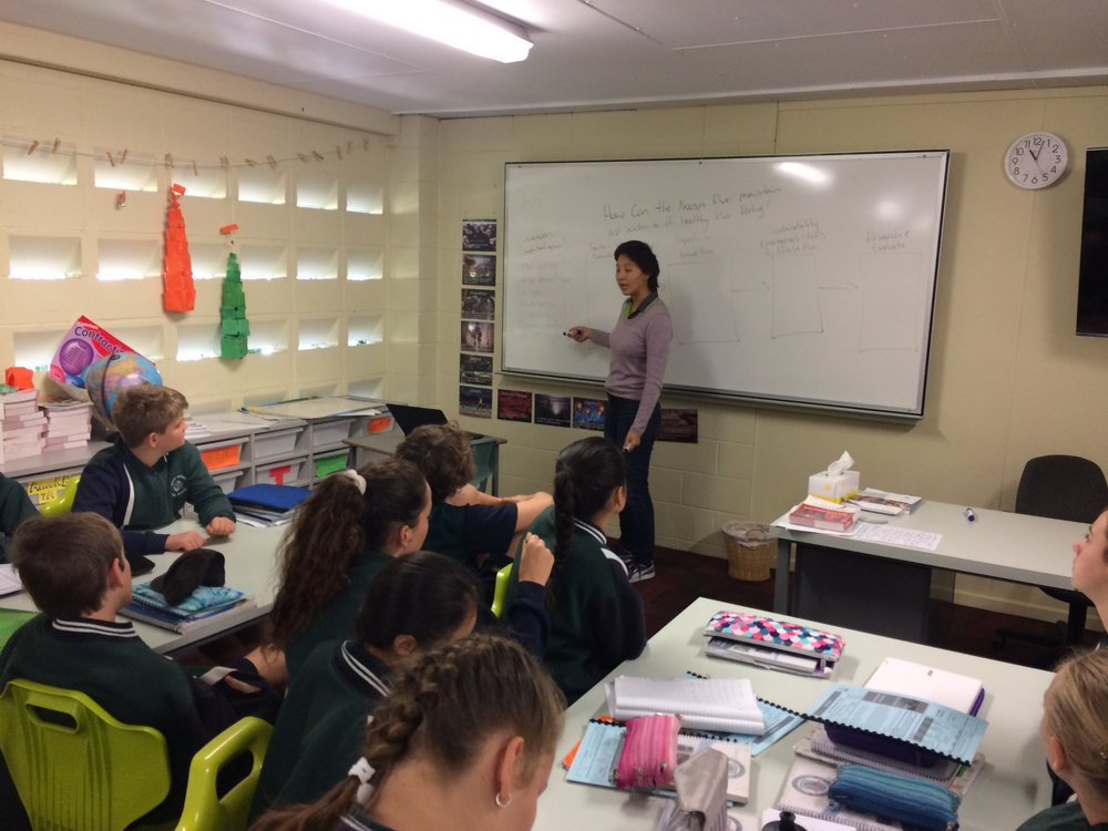 Playing teacher for the dat with a 7th year class at Pomona junior secondary.
