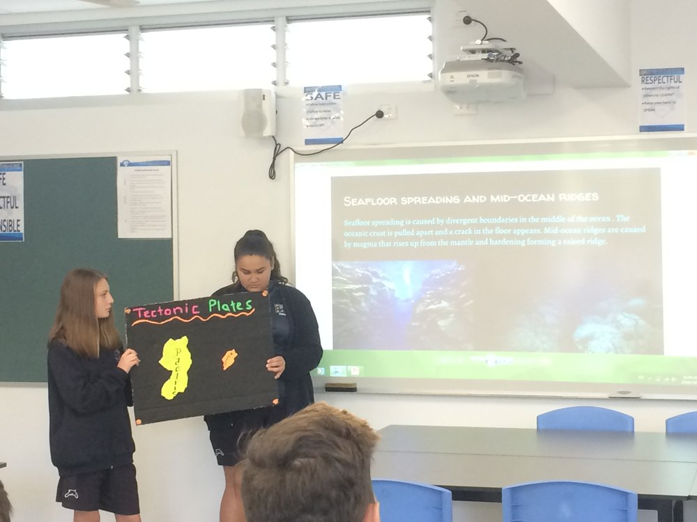 Year 9 presentation on tectonics with a cool magnetic demonstration board.  The colored plates on there move!