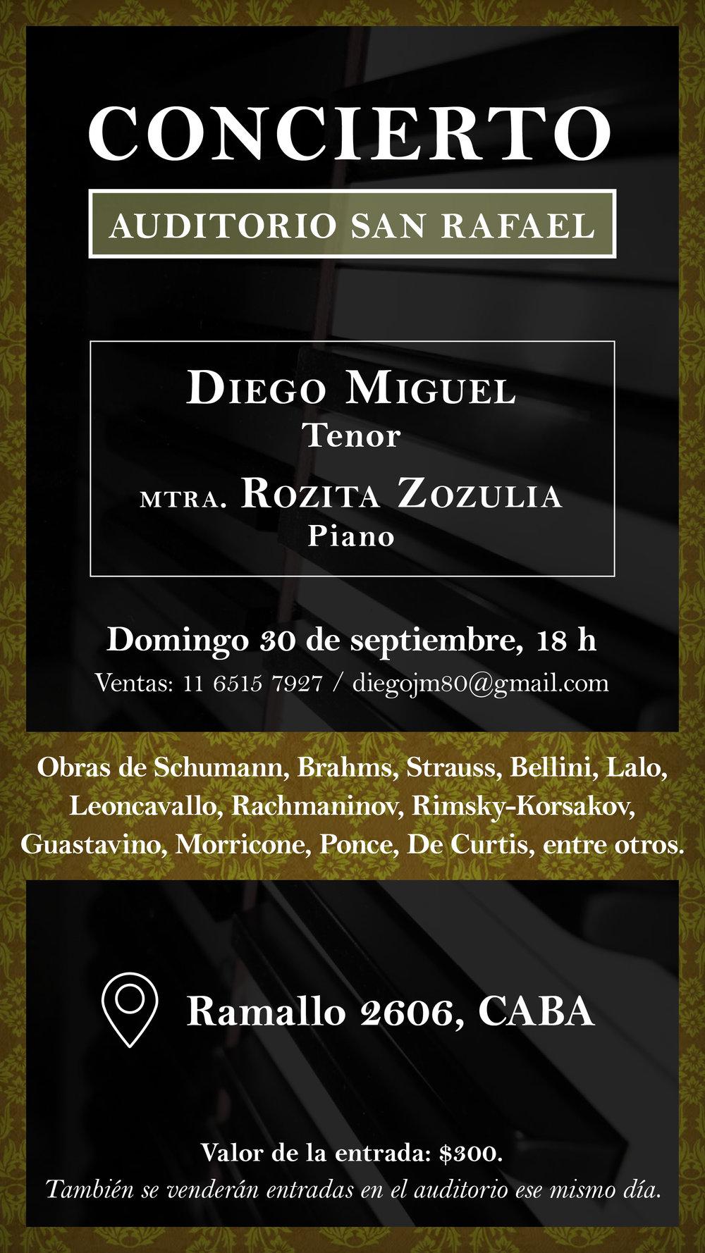 Diego Miguel: Concierto  Diseño de flyer promocional y entradas.