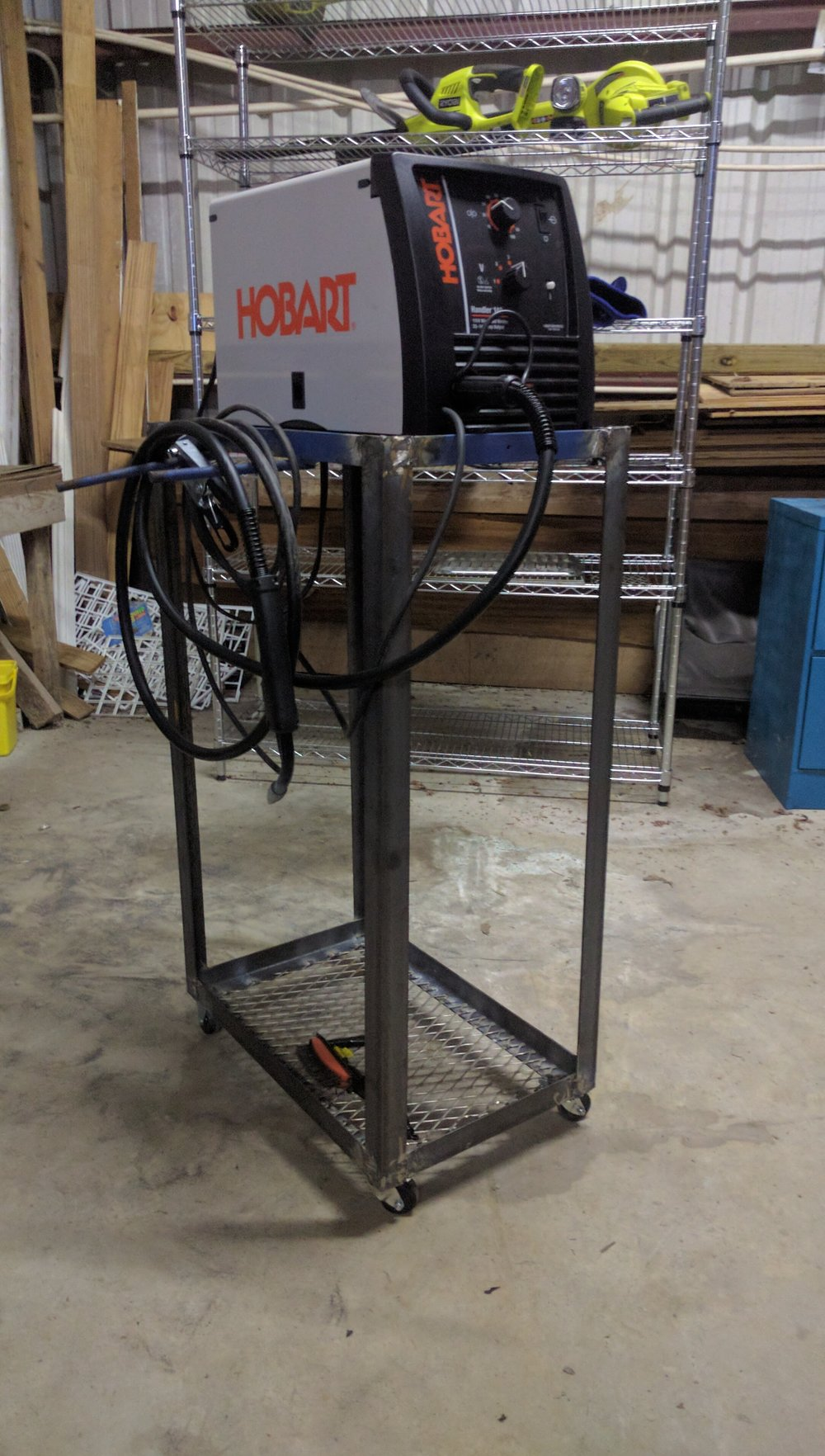 Welding machine cart.