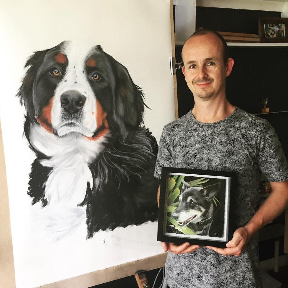Jimmi with his illustrations. Come meet Jimmi this year at the Dash!