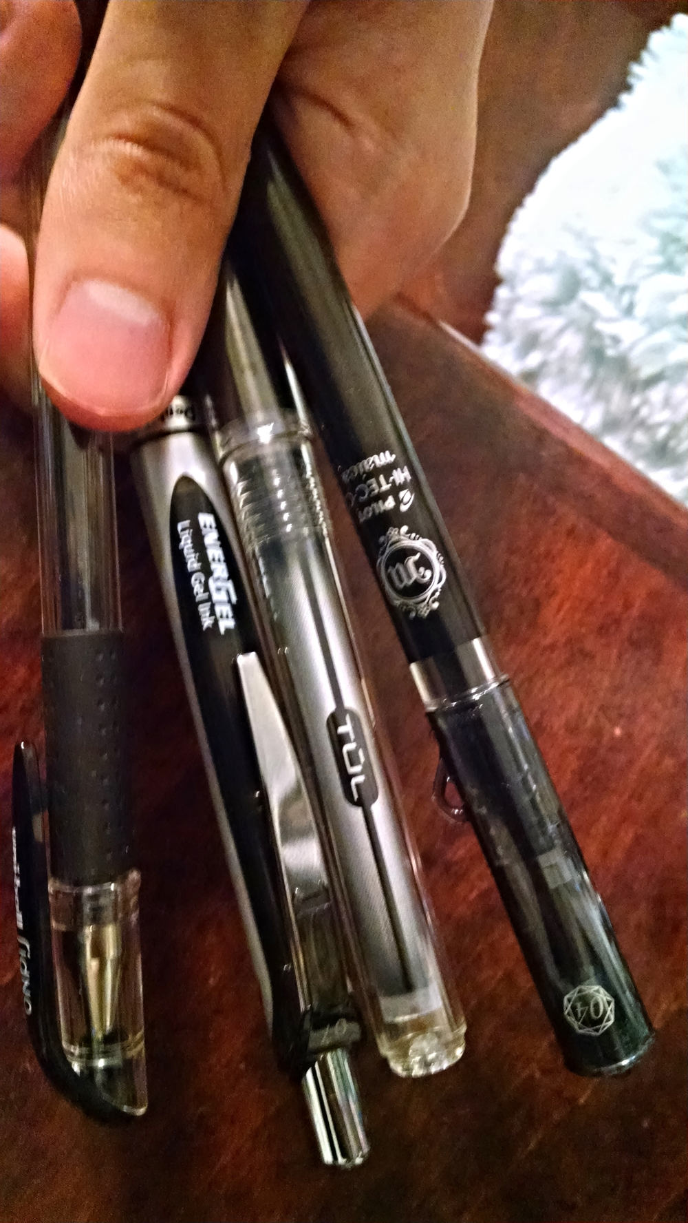 Left to right: Uniball Signo DX, Pentel Energel, TUL, Pilot Hi-Tec-C