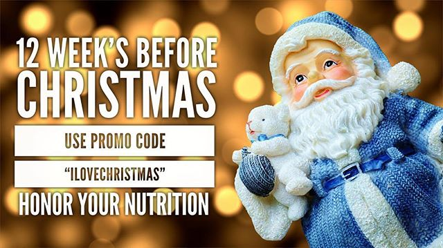 "Today marks EXACTLY 12 WEEKS until Christmas! We all know how Christmas cookies, family holiday cooking, and delicious eggnog always seem to get the best of us on that day! Let's get a head start on that and work hard in these next 12 weeks to clean up our nutrition and prepare for the holiday sugar rush! - - - Use code ""ILOVECHRISTMAS""  for 20% OFF an ID4 service!"