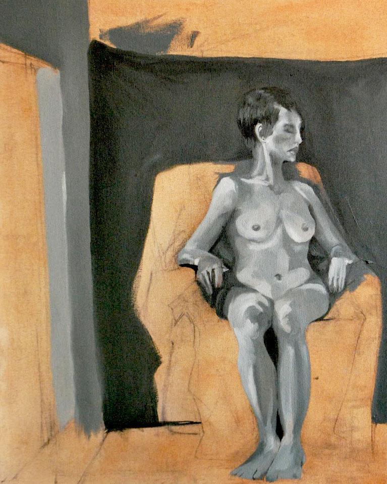 Nude In Orange Room