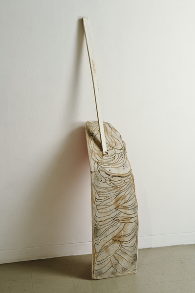 2010, Wood, engraved drywall, india ink and paint